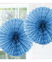 Feestversiering lichtblauwe decoratie waaier 45 cm feestje