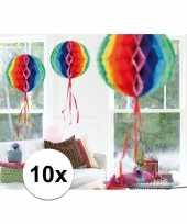 Feestversiering regenboog decoratie bollen 30 cm set van 3 feestje 10121370