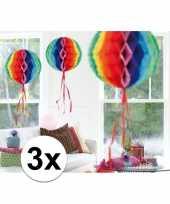 Feestversiering regenboog decoratie bollen 30 cm set van 3 feestje