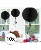 Feestversiering zwart decoratie bollen 30 cm 10 stuks feestje