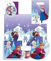 Frozen blauw paars kinderfeest tafeldecoratie pakket 6 personen feestje