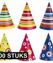 Gekleurde feesthoedjes 100 stuks feestje