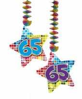 Hangdecoratie sterren 65 jaar verjaardag feestartikelen feestje