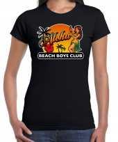 Hawaii feest t-shirt shirt aloha beach boys club zwart voor dames feestje