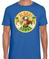 Hawaii feest t-shirt shirt aloha hawaii blauw voor heren feestje