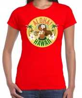 Hawaii feest t-shirt shirt aloha hawaii rood voor dames feestje