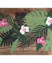 Hawaii thema feest decoratie orchidee bladeren 6x stuks feestje