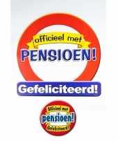 Huldebord pensioen gefeliciteerd verkeersbord met xxl button feestdecoratie feestje