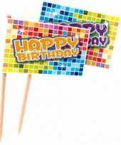 Kinderfeest prikkers happy birthday 24 stuks feestje