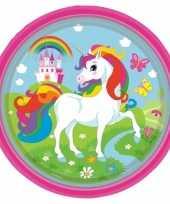 Kinderfeest unicorn wegwerp bordjes 8 stuks feestje