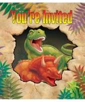 Kinderfeestje dinosaurus uitnodigingen 8 stuks feestje