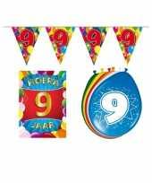 Leeftijd feestartikelen 9 jaar voordeel pakket feestje