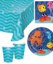 Oceaan thema kinderfeestje servies pakket 9 16 personen feestje