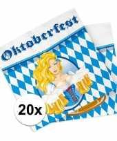 Oktoberfest 20x oktoberfest themafeest servetten blauw 33 x 33 cm papier feestje