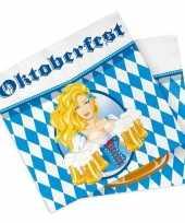 Oktoberfest 60x oktoberfest themafeest servetten blauw 33 x 33 cm papier feestje