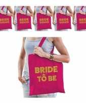 Pakket vrijgezellenfeest dames tasjes goodiebag 1x bride to be roze goud 5x bride squad roze goud feestje