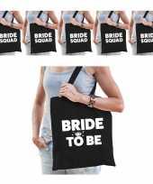 Pakket vrijgezellenfeest dames tasjes goodiebag 1x bride to be zwart 5x bride squad zwart feestje