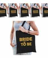 Pakket vrijgezellenfeest dames tasjes goodiebag 1x bride to be zwart goud 5x bride squad zwart go feestje