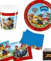 Paw patrol kinderfeestje versiering tafel pakket 8 pers kaart feestje