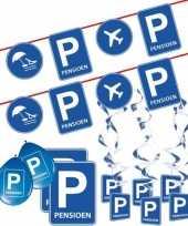 Pensioen met de vut themafeest pakket m blauw verkeersbord feestje