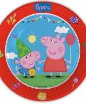 Peppa big thema kinderfeest borden 8 x feestje