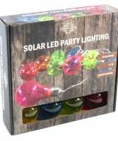 Solar feestverlichting tuinverlichting met 10 neon gekleurde lampjes feestje