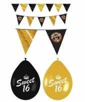 Sweet 16 feestversiering pakket zwart en goud feestje