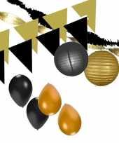 Zwart gouden feest versiering pakket xxl feestje