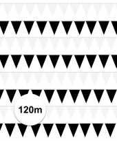 Zwart witte feest punt vlaggetjes pakket 120 meter feestje