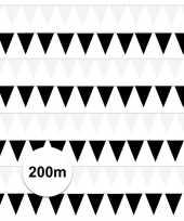 Zwart witte feest punt vlaggetjes pakket 200 meter feestje