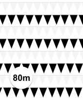 Zwart witte feest punt vlaggetjes pakket 80 meter feestje