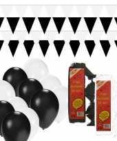 Zwart witte feest versiering pakket huiskamer feestje