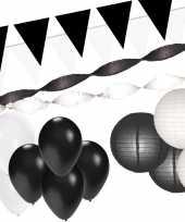 Zwart witte feest versiering pakket xxl feestje